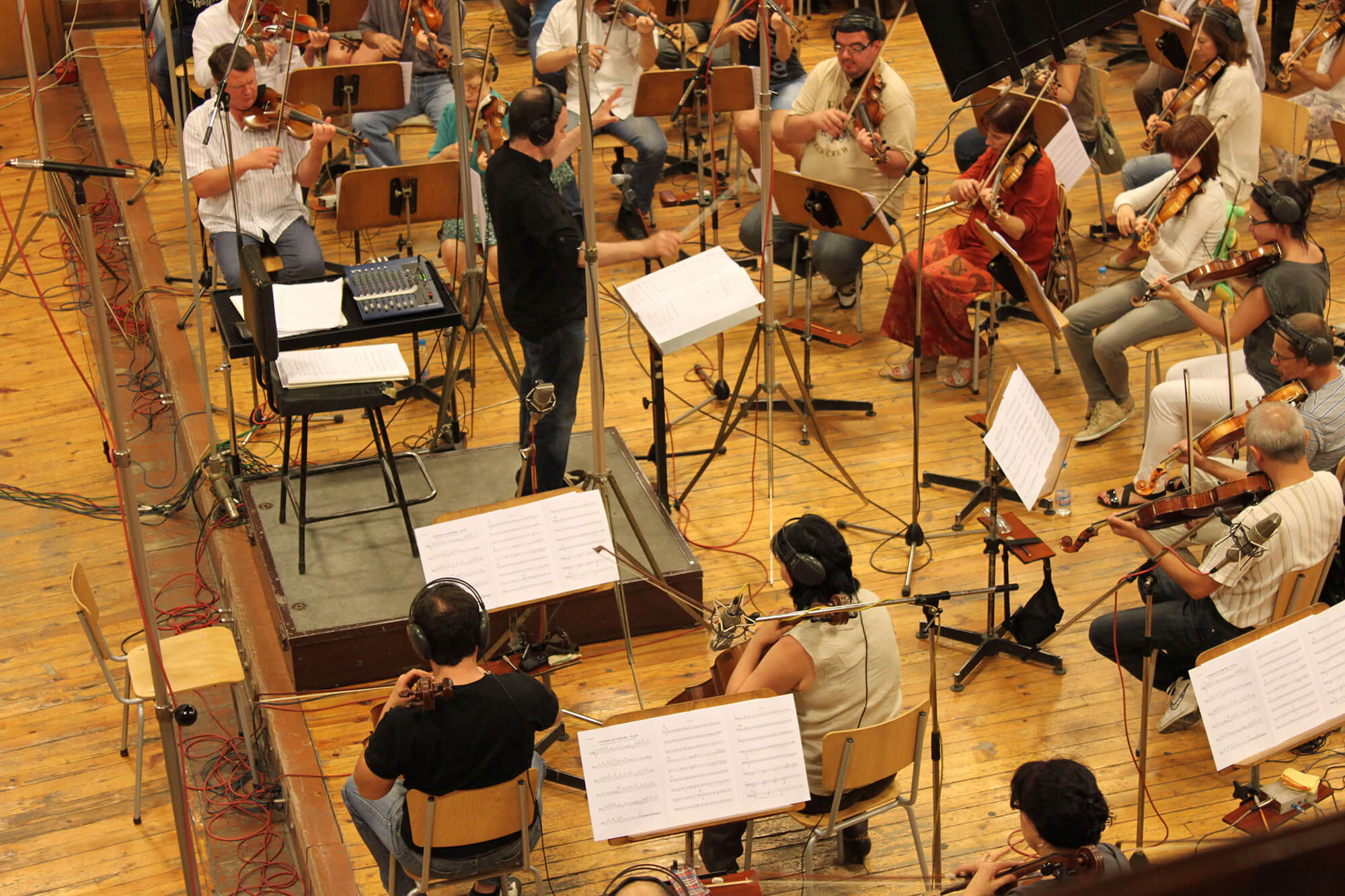 Adam conducting the Bulgarian Film Orchestra.