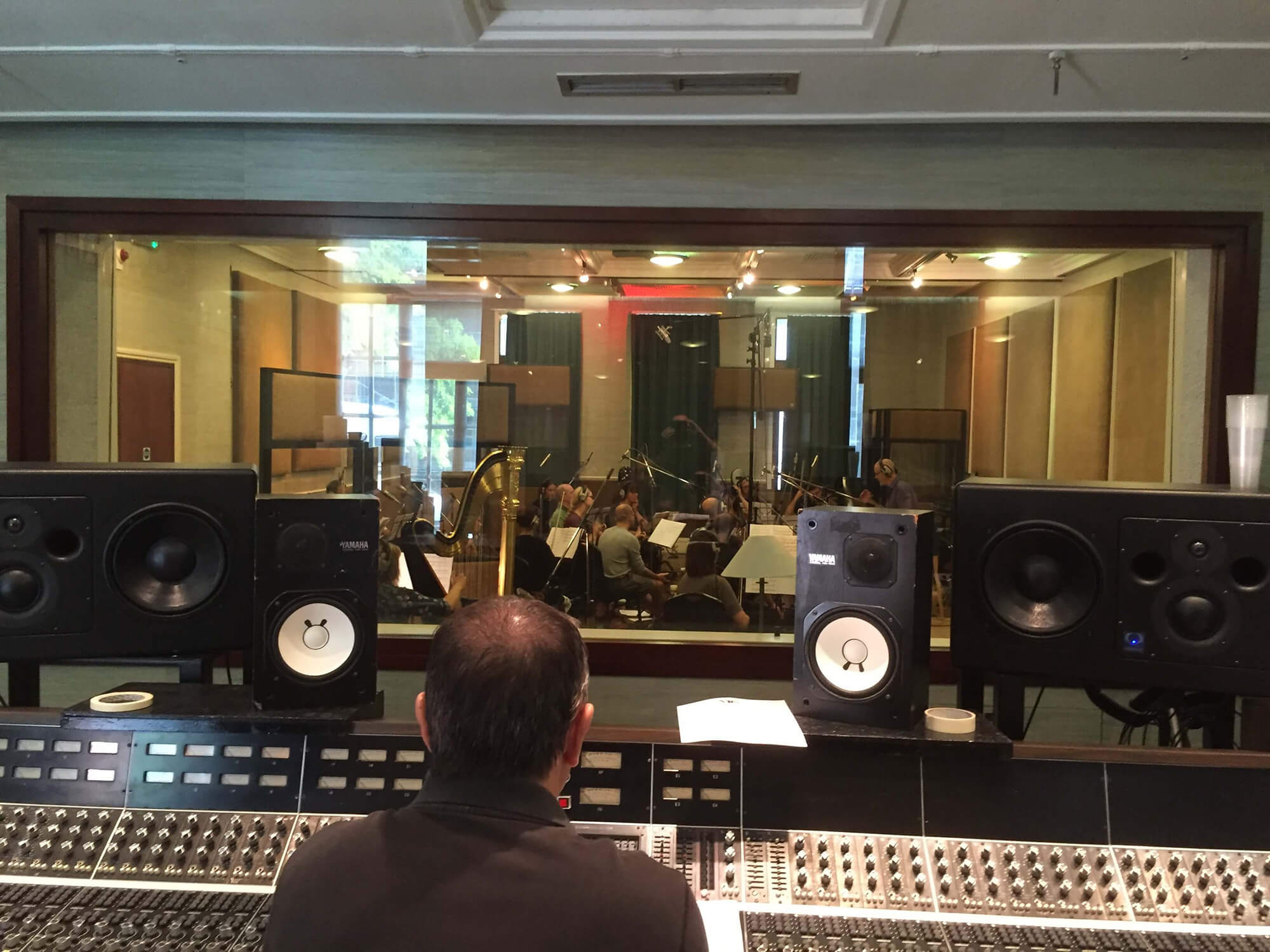 Warner Chappell 'Wonderfully Eccentric' sessions at RAK Studios, London. Pete Harrison conducts the orchestra.
